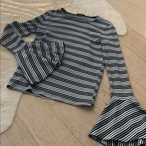 Zara striped bell sleeve top